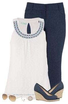 Navy Capris & Wedges by stay-at-home-mom on Polyvore featuring polyvore, fashion, style, maurices, Wedges and Maurices