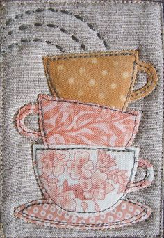 how cut would it be to make little individual coasters for the coffee table out of scrap fabric that each look like a single teacup&saucer?  Mug Rug - images only on Patchwork Pottery at http://patchworkpottery.blogspot.com/2010/10/mug-rugs_15.html