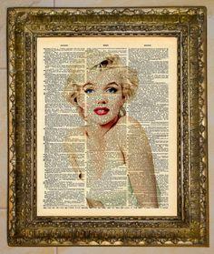 Marilyn Monroe Diccionario arte por atthedrivein en Etsy