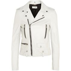 Saint Laurent Leather biker jacket (17.190 RON) ❤ liked on Polyvore featuring outerwear, jackets, coats & jackets, white, leather moto jacket, motorcycle jacket, white jacket, white moto jacket and white motorcycle jacket