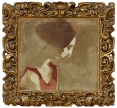 """Helene Schjerfbeck 1862-1946  """"GIRL WITH A SWAN NECK"""". (d)  Sign. Oil on canvas, 38X42 cm."""