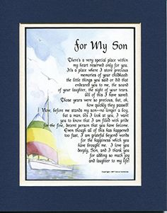 For My Son, #51, A Touching 8x10 Poem, Double-matted Navy Over White And Enhanced With Watercolor Graphics. A Gift For A Son.