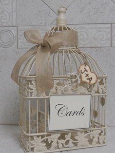 Birdcage Storage idea / Burlap ribbon