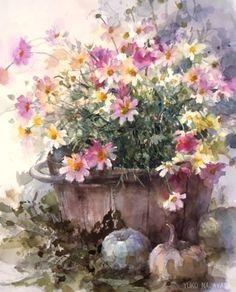 永山裕子、永山裕子 Watercolor Mixing, Watercolor Disney, Watercolor And Ink, Watercolor Flowers, Watercolour Painting, Painting & Drawing, Spring Art, Japanese Painting, Flower Art