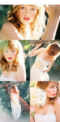 Gorgeous honey toned, almost strawberry blonde hair!!  I love the color, the cut- perfect blend of femininity and style!  I've always loved pale white skin too- so angelic!