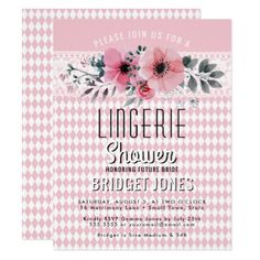 Lingerie Bridal Shower Pink Floral Banner Lace Card - invitations custom unique diy personalize occasions