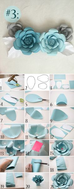 Cómo Hacer Flores de Papel Gigantes para Decorar tu Evento step by step to make giant paper flowers to decorate your event How to Make Giant Paper Flowers. Step by Step TutoDIY Giant Paper Flowers TutorialGiant Paper Flowers Wall Decor Giant Paper Flowers, Diy Flowers, Fabric Flowers, How To Make Paper Flowers, Wedding Flowers, Flower From Paper, Flower Diy, Diy Paper Roses, Blue Flowers