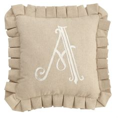 #mudpiegift 18 letters: A, B, C, D, E, F, G, H, J, K, L, M, N, P, R, S, T and W. Natural and white linen pillows feature three embroidered oversized custom initial and trim styles: box pleat, piped edge or flat dot. Pillows may be ordered by assortment or by individual initial.