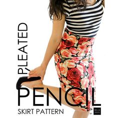 Delia Creates Pleated Pencil Skirt Sewing Pattern - Named for the closed kick pleat it sports in the back. This high-waisted, knee length pencil skirt gently hugs the hips, slightly forgives the waist, and tapers in at the knees to create a flattering yet modest silhouette. It zips up at the side with an invisible zipper and is fully lined, giving you a professional looking finished skirt.  ::  $10.00