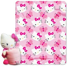 Sanrios Hello Kitty, Kitty Butterfly Hugger Character Shaped Pillow and 40x 50 Fleece Throw Set - Walmart.com