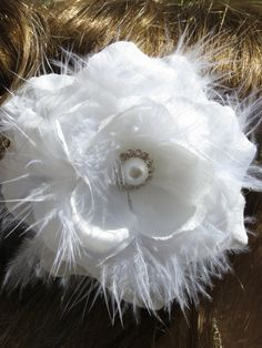 White(Ivory) Bridal Flower Hair Clip Wedding Accessory  Crystals Feathers Pearl on Etsy, $11.90