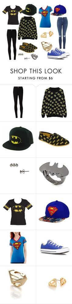 """""""Batman & Superman Best Friend Outfit"""" by gryffindorgirl-i ❤ liked on Polyvore featuring AG Adriano Goldschmied, Noir, Converse, women's clothing, women's fashion, women, female, woman, misses and juniors"""