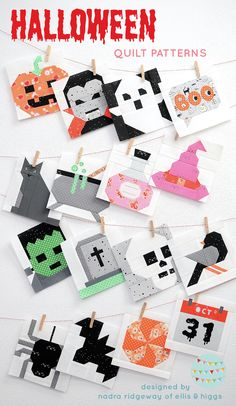 """Halloween quilt patterns by Nadra Ridgeway of ellis & higgs. These cute Halloween quilt designs are perfect for the spooky season! Bat, Boo, Calendar, Candy, Cat, Crow, Dracula, Frankenstein, Ghost, Gravestone, Potion Bottle, Pumpkin, Skull, Spider, Witch Hat, Witch Kettle quilt patterns. Finished sizes: 12"""" & 6"""" square! Fall quilt pattern, Fall crafts, Autumn quilt pattern, Autumn crafts, pillow, table runner, table topper, mini quilt lap size"""