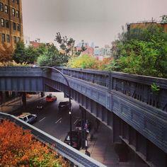 The High Line in New York City, Manhattan. A park on a bridge.