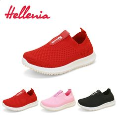 big sale ad90f bd8e1 Helleniagirls light walking casual flats estate kid shoes bambini ragazze  mesh traspirante Red Pink Black slip on size 21-38