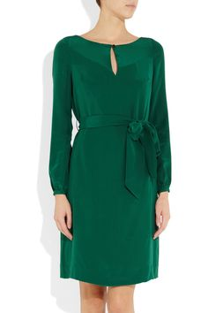Love this color for Fall!  Tory Burch| silk crepe de chine dress