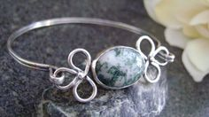 LUCKY FOREST - Green and White Oval Tree Agate Cabachon -Sterling Silver - by truformjewelry, $170.00