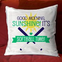 "Add a softball theme to any room with this fun throw pillow. 14"" x 14"" zippered pillow with a super comfy faux down insert. One sided design with an option to have design on both sides."