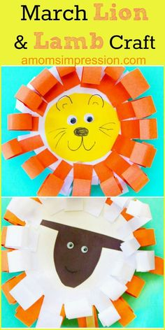 In like a lion out like a lamb this easy and adorable paper plate March Lion and Lamb craft will be a huge hit with your little one as spring approaches. Preschool Projects, Kindergarten Crafts, Daycare Crafts, Sunday School Crafts, Classroom Crafts, Toddler Crafts, Preschool Crafts, Preschool Activities, Crafts For Kids