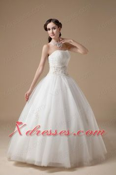 Elegant Ball Gown Strapless Floor-length Satin And Tulle Appliques Wedding Dress