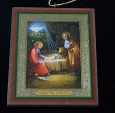Vintage-Russian-Nativity-Scene-Gold-Foil-Wood-Icon-Christmas-Mary-Joseph-Jesus