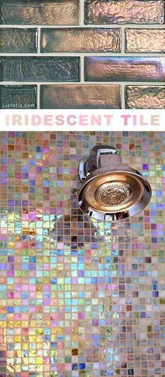 I love this shimmery tile!! Lots of creative tile ideas for kitchen back splashes, master bathrooms, small bathrooms, patios, tub surrounds, or any room of the house!