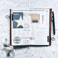 TN: 28 / 52 🗓 ================ Traveler's Notebook - Regular (Camel) Sarasa Clip 0.5mm - Vintage Brown Black Classiky Washitape - Brown Grid Classiky Washitape - Colorful Textile Pattern
