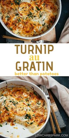 This turnip au gratin is simply made with thinly sliced turnips, heavy cream, and grated cheese. It's the ultimate comfort food. Turnip Recipes, Vegetable Recipes, Paleo Recipes, Low Carb Recipes, Cooking Recipes, Usda Food, Low Carb Side Dishes, Vegetable Sides, Breakfast Recipes
