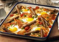 There's just something completely satisfying about crisp, brown, buttery hash brown potatoes served with Johnsonville® Breakfast Sausage Links, tomatoes and farm-fresh sunny-side up eggs sprinkled with sliced green onions in a convenient one-pan recipe. Breakfast Sausage Links, Breakfast Casserole Sausage, Savory Breakfast, Breakfast Time, Breakfast Dishes, Best Breakfast, Breakfast Recipes, Breakfast Ideas, Breakfast Specials