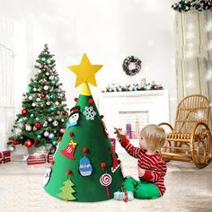 Felt Christmas Trees With Ornament Christmas Decorations for Home 2020 New Year Gift for Kids Navidad Natal Xmas Supplies-in Pendant & Drop Ornaments from Home & Garden on AliExpress Corner Christmas Tree, Diy Felt Christmas Tree, Christmas Trees For Kids, Wooden Christmas Trees, Childrens Christmas, Toddler Christmas, Babies First Christmas, Christmas Decorations, Christmas Ornaments