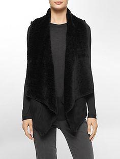ultra-suede faux fur lined vest   Calvin Klein