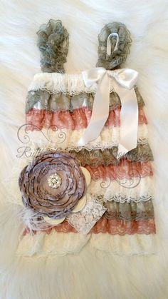 Beautiful Vintage style Dusty Ivory Rose Petti Lace Romper. Made of lovely layers of Ivory, Grey and Dusty Rose laces. ~ This is a stunning romper.~ Straps t