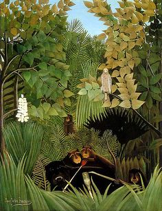 'The Merry Jesters' (1906) by French post-Impressionist painter Henri Rousseau (1844-1910). oil on canvas. Philadelphia Museum of Art