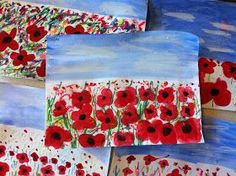 Art Room with a View: Poppy Fields for Remembrance Day/Memorial Day Remembrance Day Activities, Remembrance Day Art, Arte Elemental, Ww1 Art, Poppy Craft, 3rd Grade Art, Grade 1, Anzac Day, Kindergarten Art