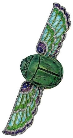 A magnificent Egyptian Revival brooch, France, circa Designed with an ancient Egyptian scarab as the centrepiece, with outspread wings decorated with plique-à-jour enamel and set with diamonds. Egyptian Scarab, Ancient Egyptian Art, Ancient Aliens, Ancient History, Enamel Jewelry, Antique Jewelry, Vintage Jewelry, Silver Jewelry, Silver Rings