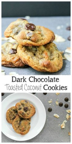 I love cookies and these are elevate with dark chocolate and crispy toasted coconut that will remind you of a candy bar! Dark Chocolate Toasted Coconut Cookies Recipe | take two tapas