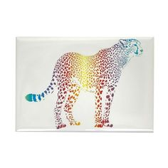 Abstract rainbow cheetah Rectangle Magnet on CafePress.com