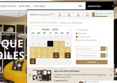 Le moteur de réservation de l'hôtel Ekta. Il s'agit d'une surcouche à son moteur, Availpro, qui met en avant le planning, les dates, avec un jeu de couleurs pour indiquer si le jour est disponible et si c'est un jour contraint ou pas. Bravo, la réservation se décomplexe et se met en avant ! http://www.hotelekta.com/