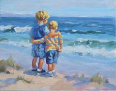acrylic painting 8 x 10 two boys on a beach sibling by LucelleRaad Painting People, Painting For Kids, Baby Illustration, Pictures To Paint, Beautiful Paintings, Painting Inspiration, Watercolor Paintings, Watercolour, Drawings