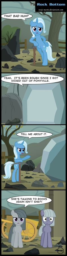 Trixie hits Rock Bottom  by *Toxic-Mario  Link: http://toxic-mario.deviantart.com/art/Rock-Bottom-342203932