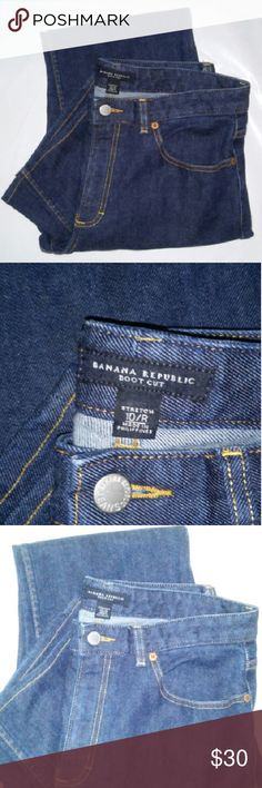 Banana Republic Jeans Jeans are dark medium washed and bootcut .Very good condition.    98% cotton/2% spandex Banana Republic Jeans Boot Cut