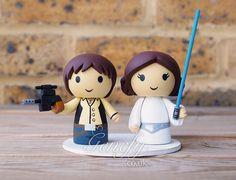 Star Wars Han Solo with blaster and Princess Leia wedding cake topper by GenefyPlayground https://www.facebook.com/genefyplayground