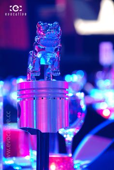 Mack Truck table centrepiece consisting of chrome Mack bulldog sitting on a piston. #EventPhotography