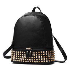 ccb6a5b03369 2017 New Fashion Rivet Punk Leather Bags Women Laptop Female Backpack  Mochila Feminina Travel Sac A
