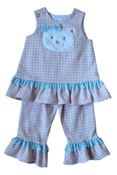 Kitty Cat Fall Dress with ruffled pants by Bailey Boys.  Super soft kitty applique' is ADORABLE!  This will be her favorite outfit!  Call now to have it shipped TODAY!  850-650-9509  Comes infant AND TODDLER!  Lisa
