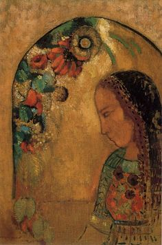 Lady of the Flowers,  oil on canvas, c. 1890-95 by Odilon Redon (1840 -1916).