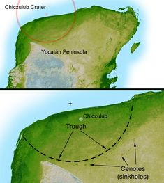 Yucatan chicxulub crater - 182 km diameter; This shaded relief image of Mexico's Yucatan Peninsula show a subtle, but unmistakable, indication of the Chicxulub impact crater. Most scientists now agree that this impact was the cause of the Cretatious-Tertiary Extinction, the event 65 million years ago that marked the sudden extinction of the dinosaurs as well as the majority of life then on Earth.