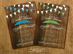 Rustic Wood, Flag  Banner, Printable Bridal Shower Invitation (Yellow, Blue or Green) by ElizabethBalint on Etsy