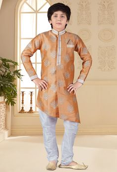 Shop peach jacquard traditional boys kurta and pajama , freeshipping all over the world , Item code