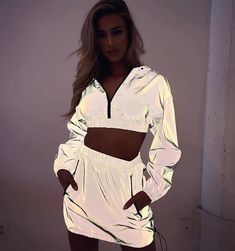 2019 Women Two Piece Set Outfits Sexy Reflective Zipper Party Crop Top Hoodie and Skirt Sets Streetwear Jacket Coat Suit Neon Outfits, Hipster Outfits, Sporty Outfits, Rave Outfits, Cute Casual Outfits, Girls Fashion Clothes, Teen Fashion Outfits, Girl Outfits, Club Outfits